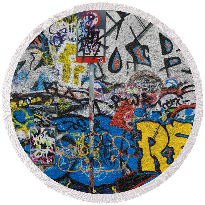 Photography Round Beach Towel featuring the photograph Grafitti On The U2 Wall, Windmill Lane by Panoramic Images