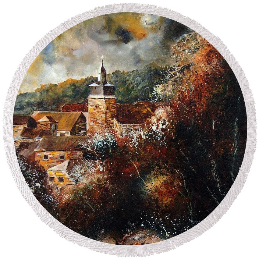 Village Round Beach Towel featuring the painting Graide Village Belgium by Pol Ledent