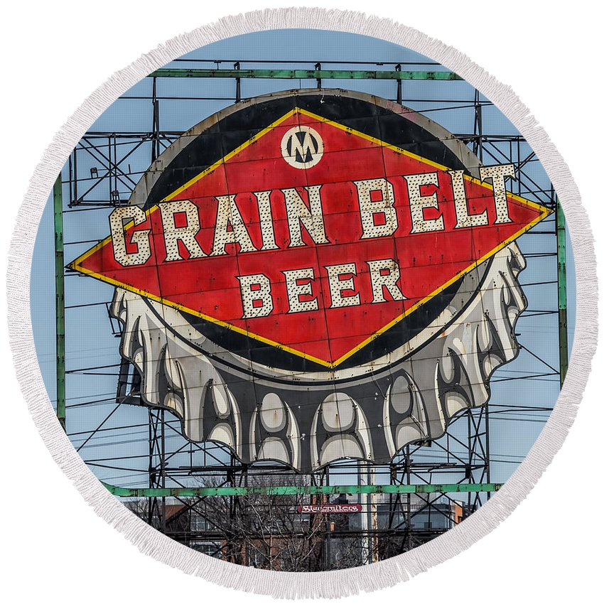 Grain Belt Beer Sign Round Beach Towel featuring the photograph Grain Belt Beer Sign by Paul Freidlund