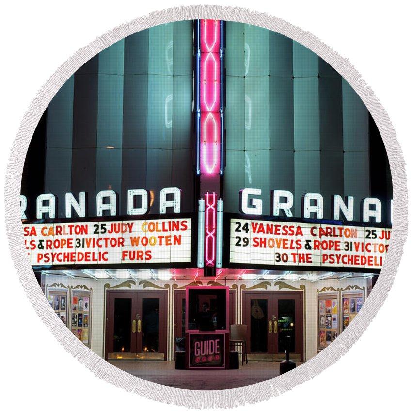Granada Theater Round Beach Towel featuring the photograph Granada Marquee Dallas by Rospotte Photography