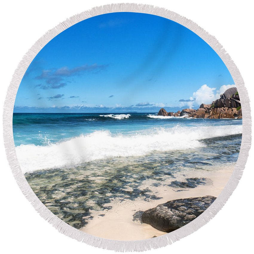 Grand Anse Round Beach Towel featuring the photograph Grand Anse Beach by Fabrizio Troiani