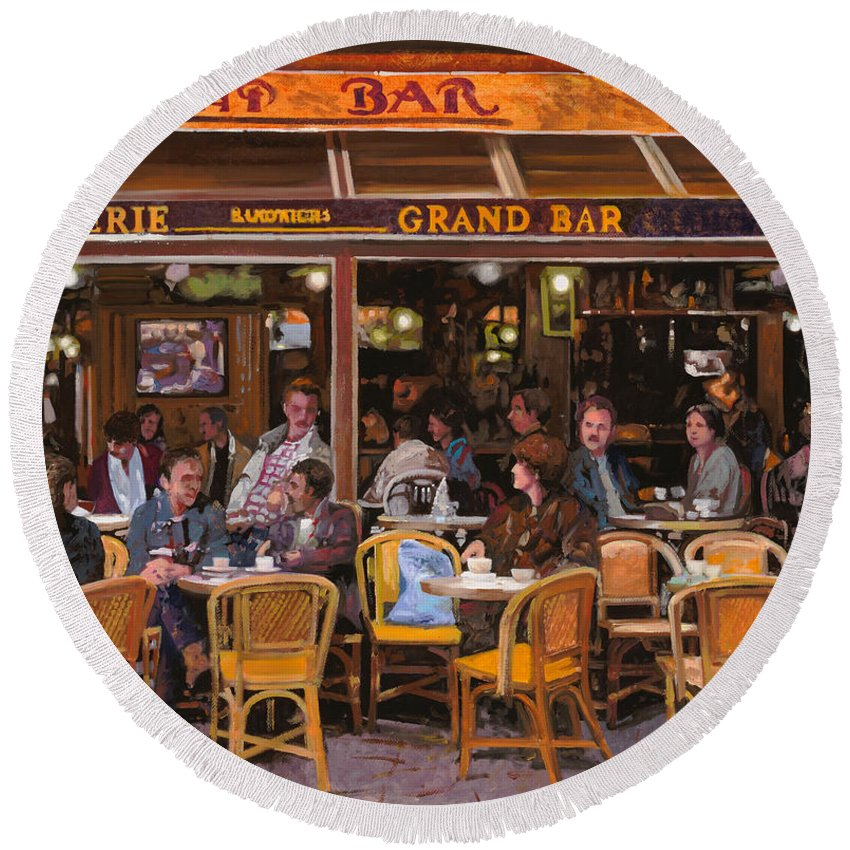 Brasserie Round Beach Towel featuring the painting Grand Bar by Guido Borelli