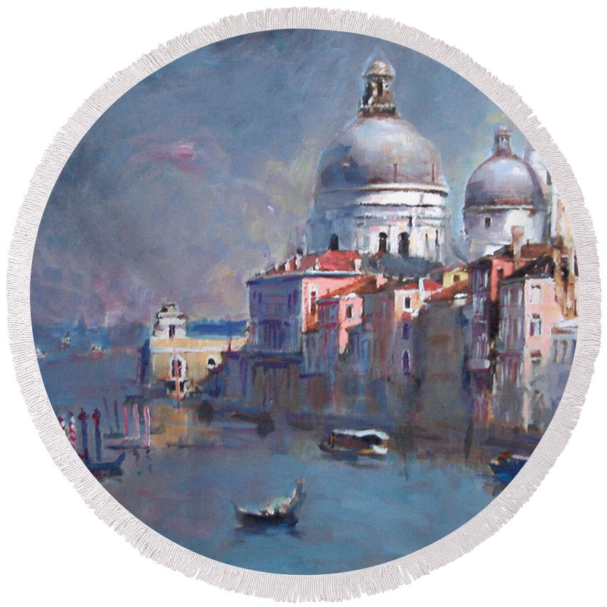 Landscape Round Beach Towel featuring the painting Grand Canal Venice by Ylli Haruni
