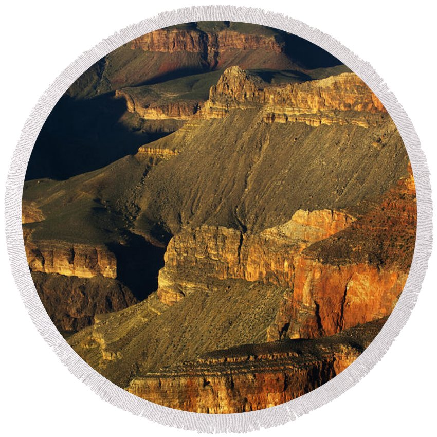 Grand Canyon Round Beach Towel featuring the photograph Grand Canyon Arizona Light And Shadow 1 by Bob Christopher