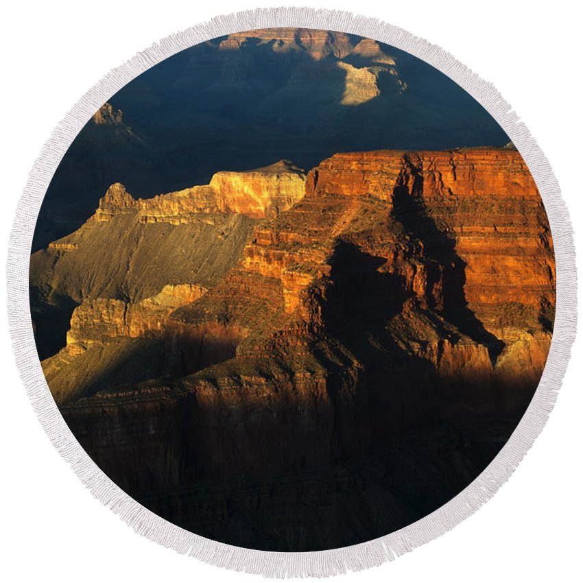 Grand Canyon Round Beach Towel featuring the photograph Grand Canyon Arizona Light And Shadow 2 by Bob Christopher