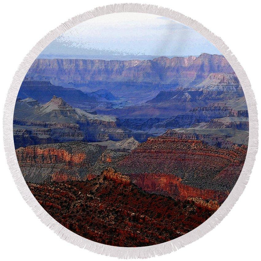 Art Round Beach Towel featuring the digital art Grand Canyon Arizona by David Lee Thompson