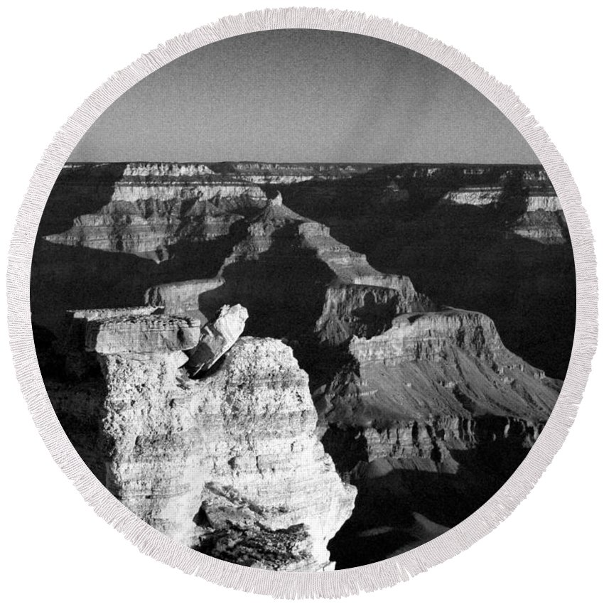Grand Canyon Round Beach Towel featuring the photograph Grand Canyon Black And White by Joshua House