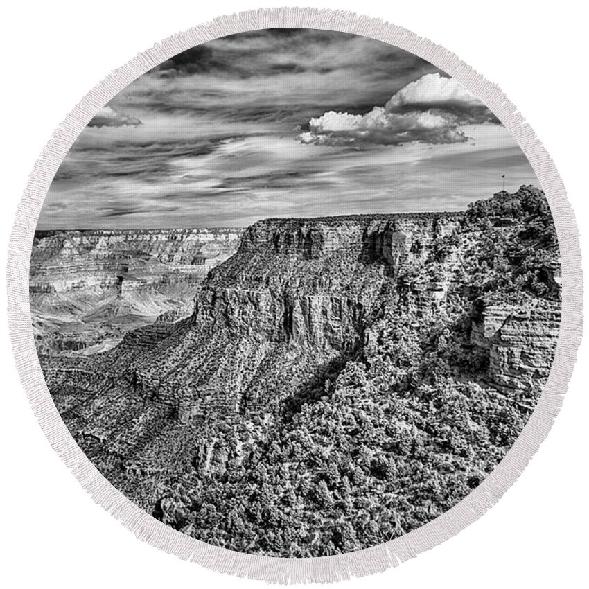 Travel Photography Round Beach Towel featuring the photograph Grand Canyon In Black And White by Norman Gabitzsch