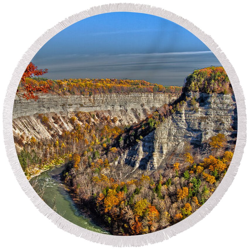 Grand Canyon Of The East Round Beach Towel featuring the photograph Grand Canyon Of The East by William Norton