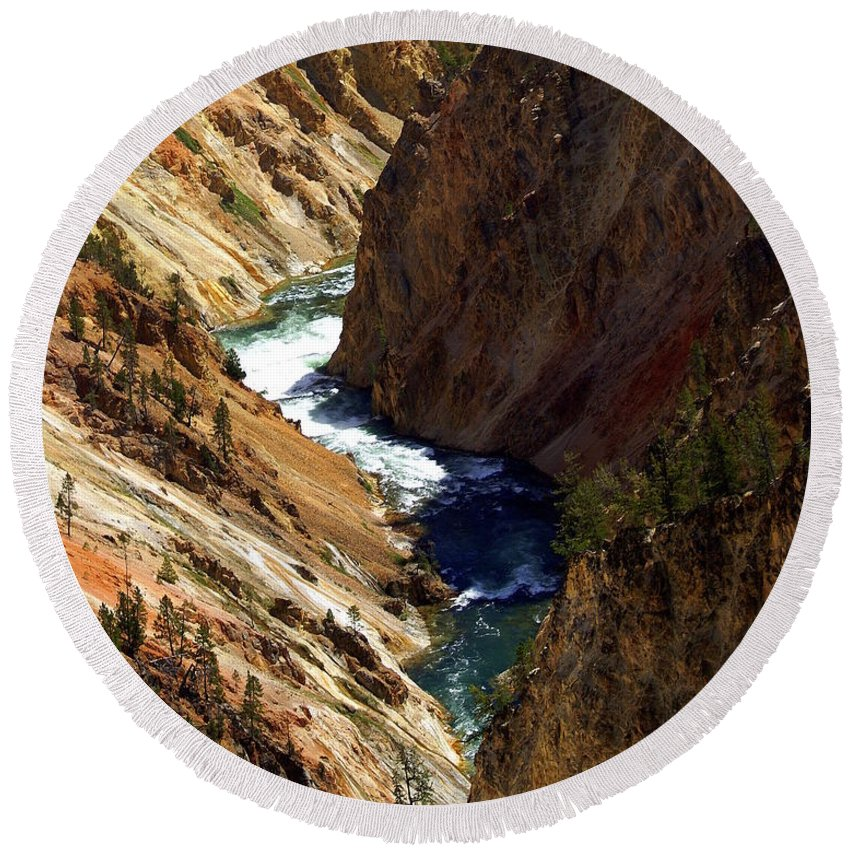 Yellowstone National Park Round Beach Towel featuring the photograph Grand Canyon Of The Yellowstone 1 by Marty Koch
