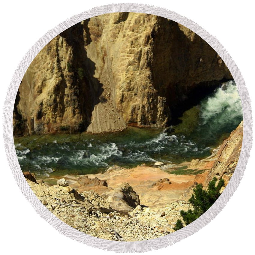Yellowstone National Park Round Beach Towel featuring the photograph Grand Canyon Of The Yellowstone 3 by Marty Koch
