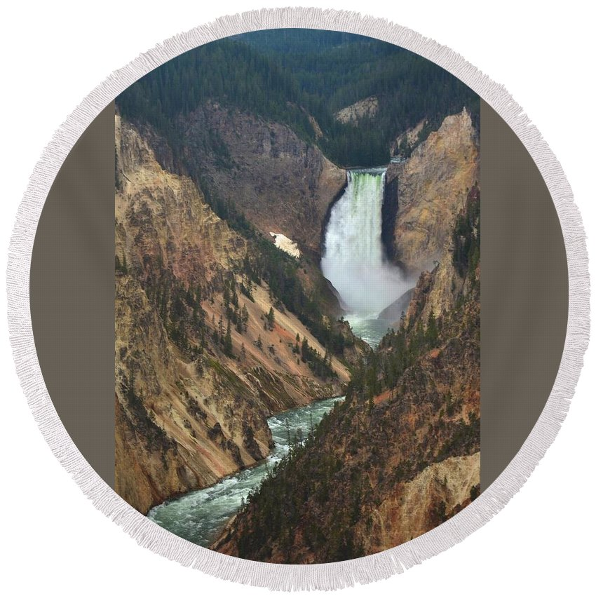 Yellowstone Round Beach Towel featuring the photograph Grand Canyon Of The Yellowstone by Vinny Del Conte
