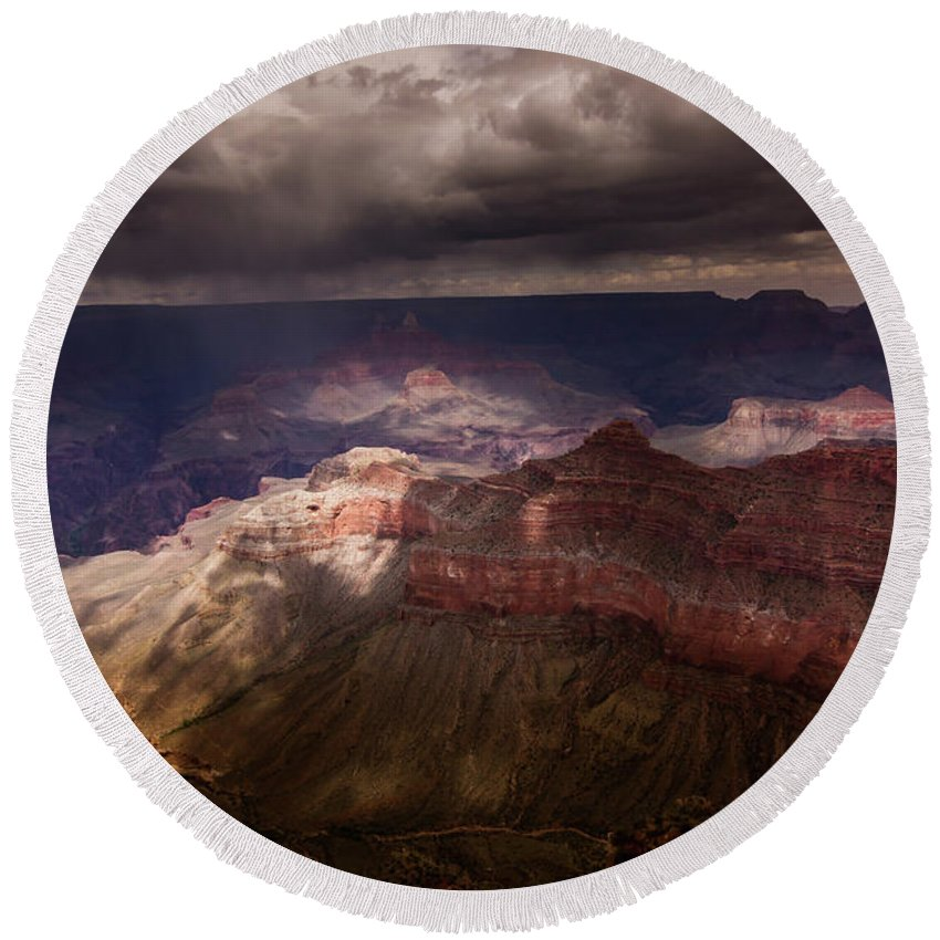 Grand Canyon Round Beach Towel featuring the photograph Grand Canyon Wonder by Christian Garcia