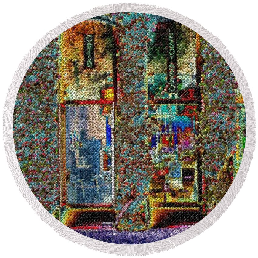 Seattle Round Beach Towel featuring the digital art Grand Central Bakery Mosaic by Tim Allen