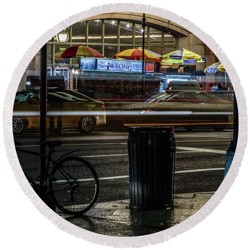 Nyc Round Beach Towel featuring the photograph Grand Central Terminalfood Carts by Charles A LaMatto