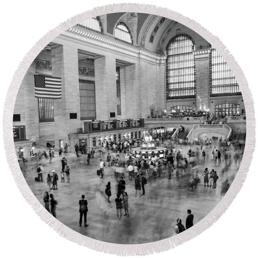 Nyc Round Beach Towel featuring the photograph Grand Central Terminal by Alejandro Cupi