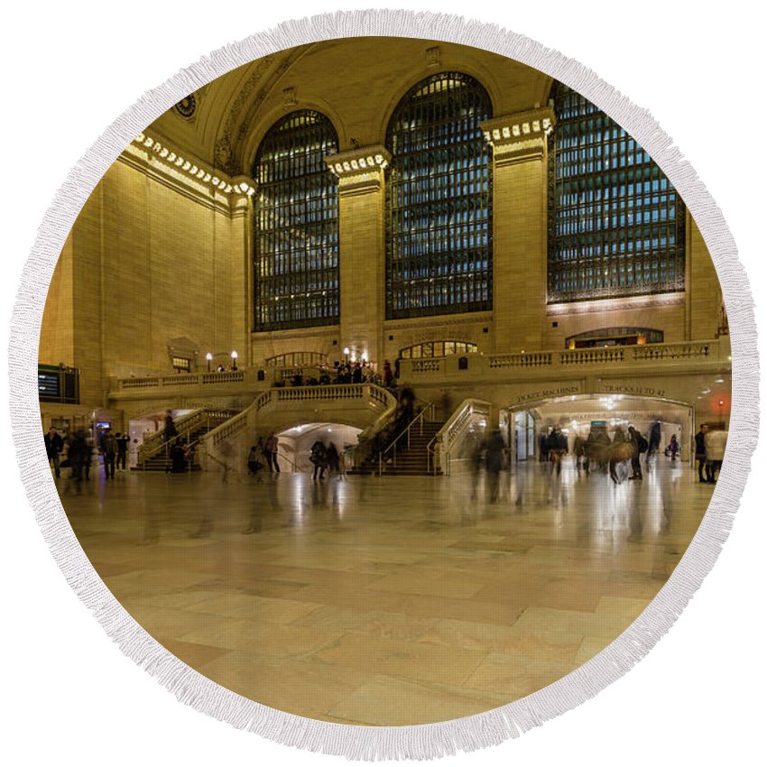 Nyc Round Beach Towel featuring the photograph Grand Central Terminal Main Floor by Charles A LaMatto