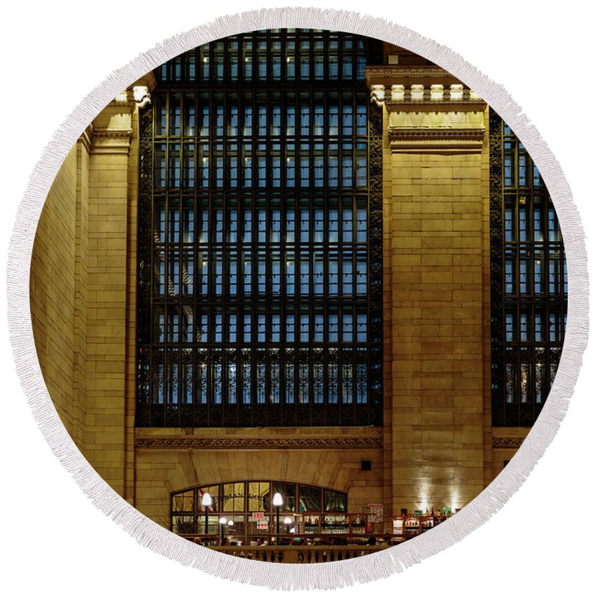 Nyc Round Beach Towel featuring the photograph Grand Central Terminal Window Details by Charles A LaMatto
