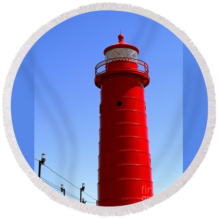 Lighthouse Round Beach Towel featuring the photograph Grand Haven Light by Ann Horn