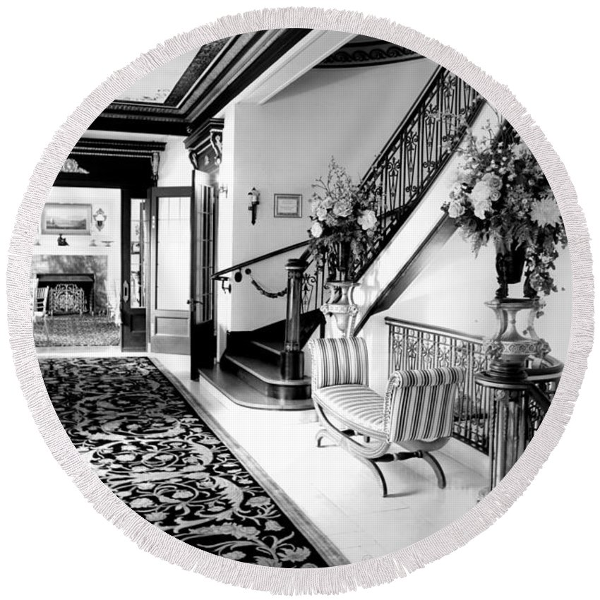 Grand-island-mansion Round Beach Towel featuring the photograph Grand Island Mansion Mosher Ranch 7 B And W by Joyce Dickens