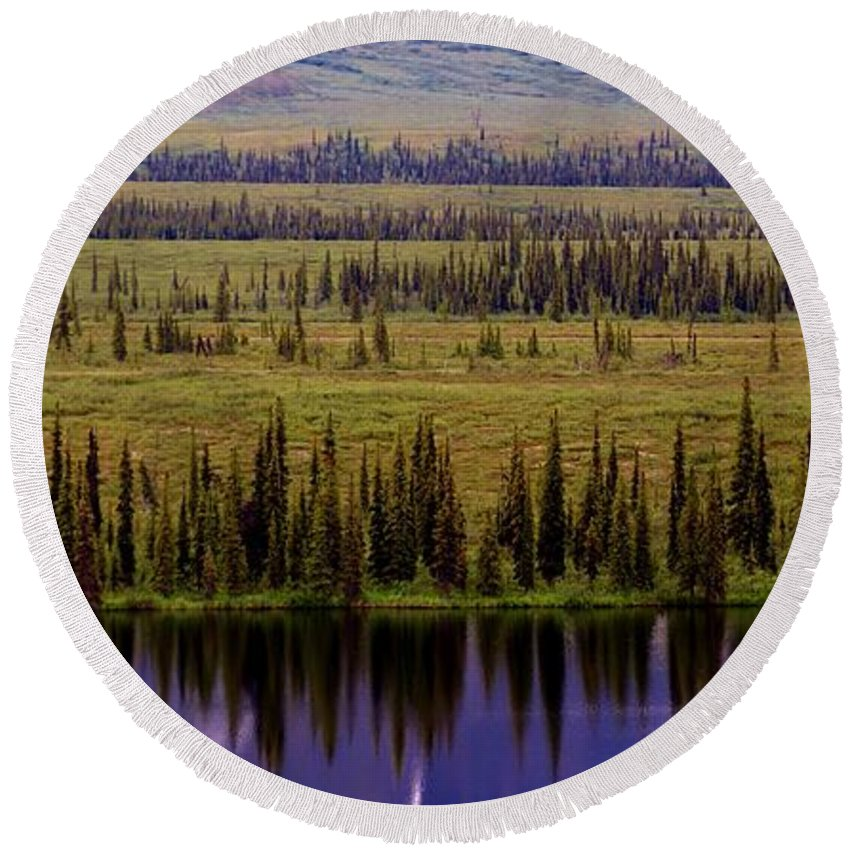 Tree Reflections Round Beach Towel featuring the photograph Grand Mountain Reflections by Patricia Twardzik