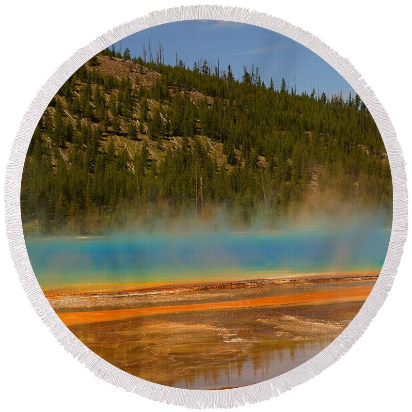 Colorful Round Beach Towel featuring the photograph Grand Prismatic Pool by Beth Collins