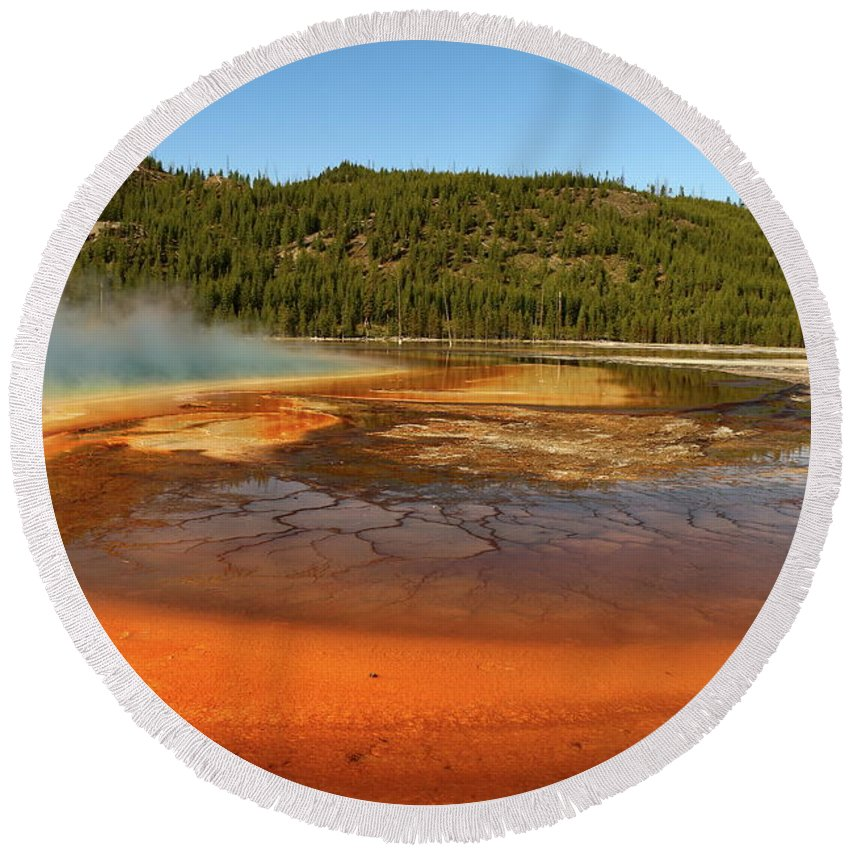 Park Round Beach Towel featuring the photograph Grand Prismatic Spring by Christiane Schulze Art And Photography