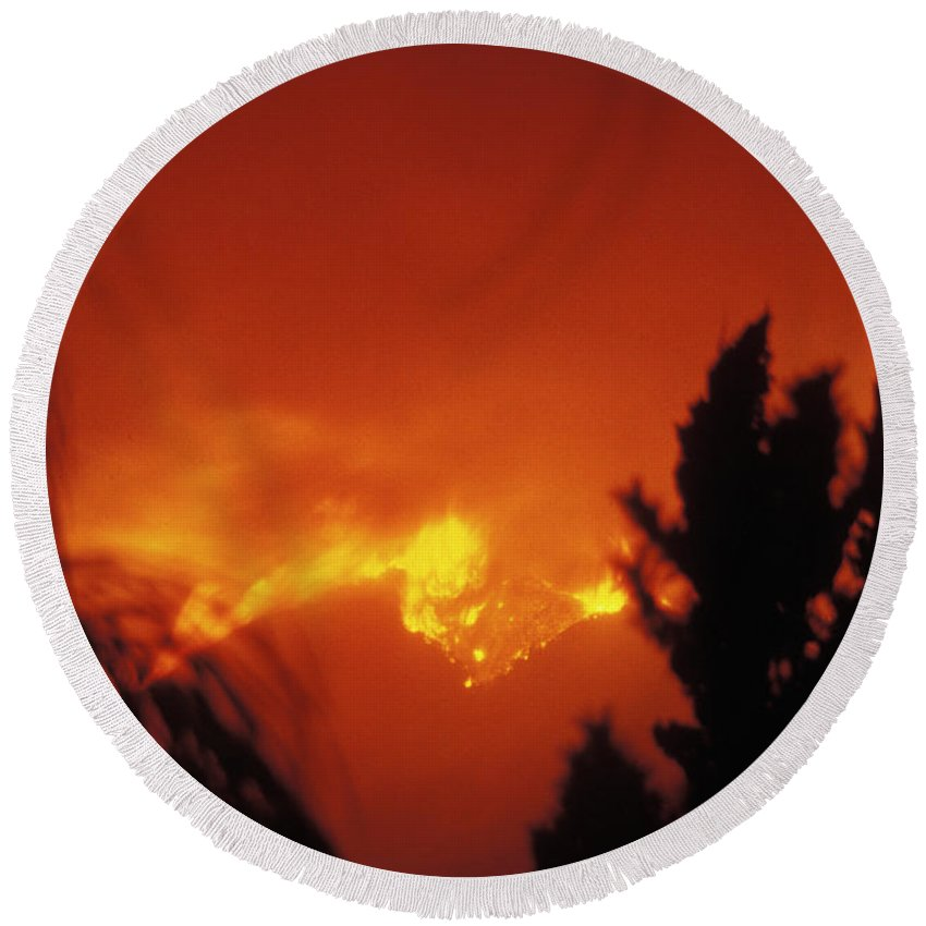 Fire Round Beach Towel featuring the photograph Grand Prix Fire #1 '03 by Frank Henley