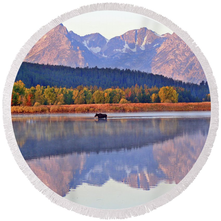 Mountain Round Beach Towel featuring the photograph Grand Reflections by Scott Mahon