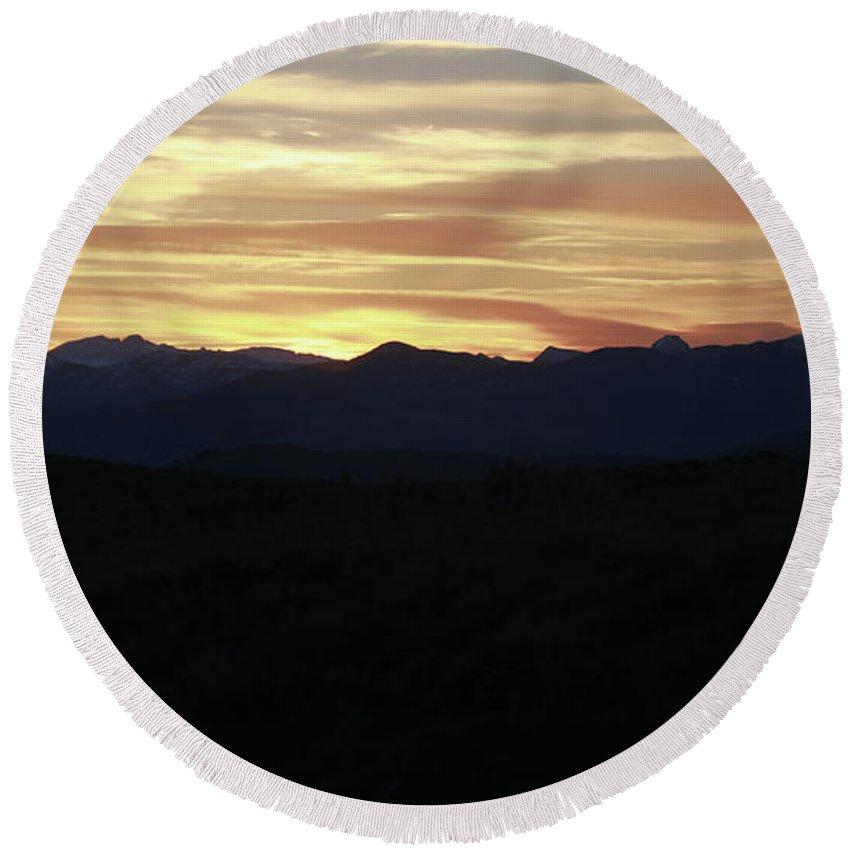Grand Teton Landscape Sunset Round Beach Towel featuring the photograph Grand Teton Landscape Sunset by Dan Sproul