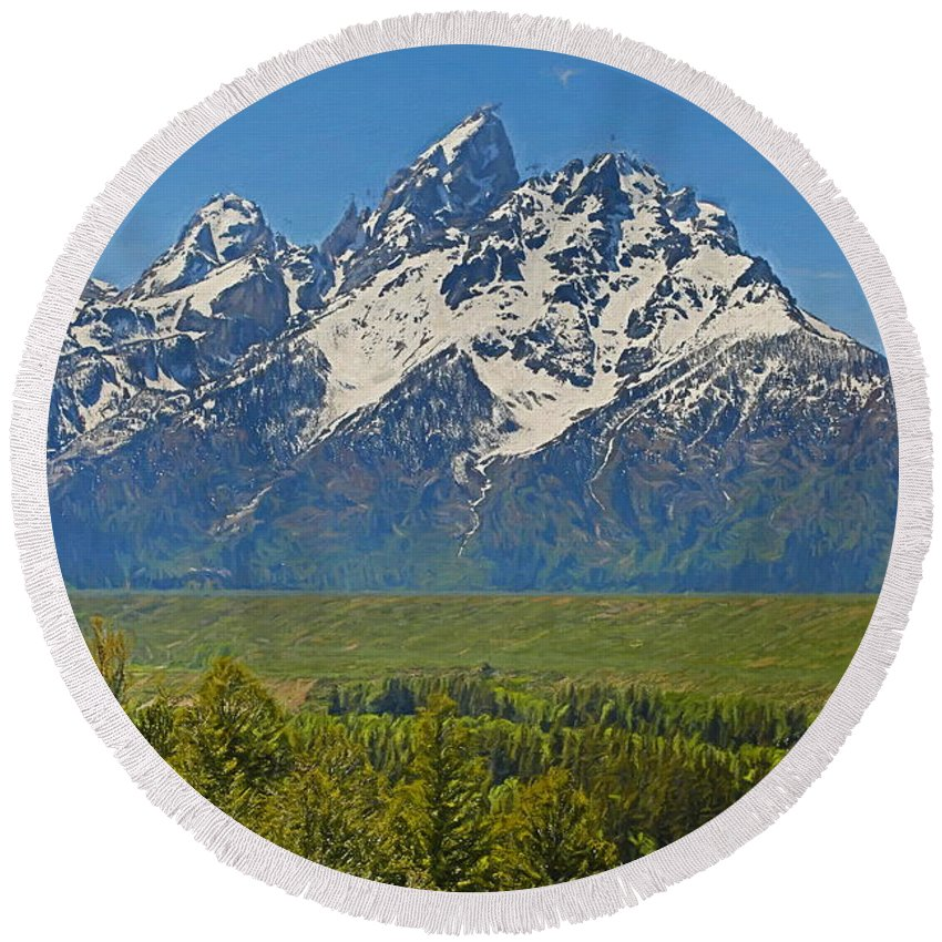 Landscape Round Beach Towel featuring the mixed media Grand Teton National Park And Snake River by Dan Sproul