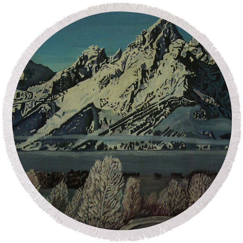 Wyoming Round Beach Towel featuring the photograph Grand Teton Winter by Rich Walter