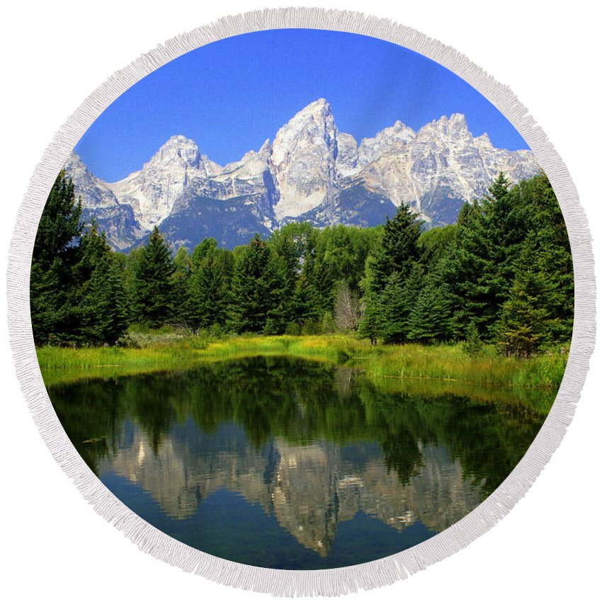 Grand Teton National Park Round Beach Towel featuring the photograph Grand Tetons 2 Horizontal by Marty Koch