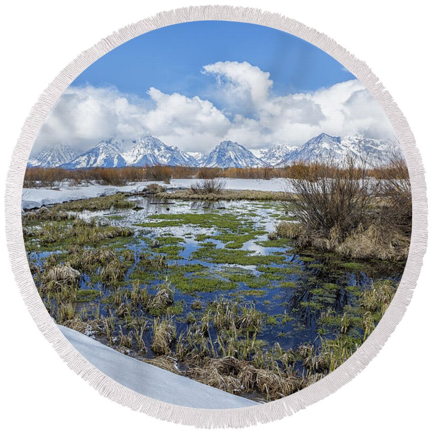 Grand Tetons Round Beach Towel featuring the photograph Grand Tetons From Willow Flats In Early April by Belinda Greb
