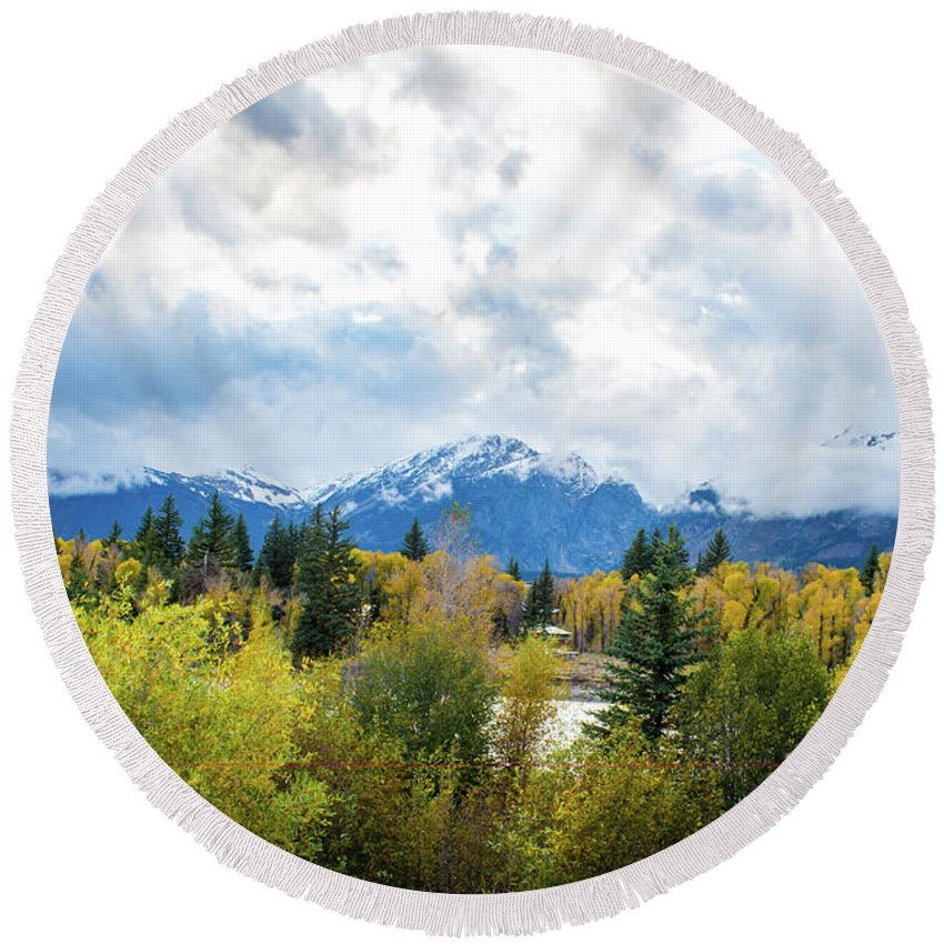 National Parks Round Beach Towel featuring the photograph Grand Tetons In The Fall by Aileen Savage