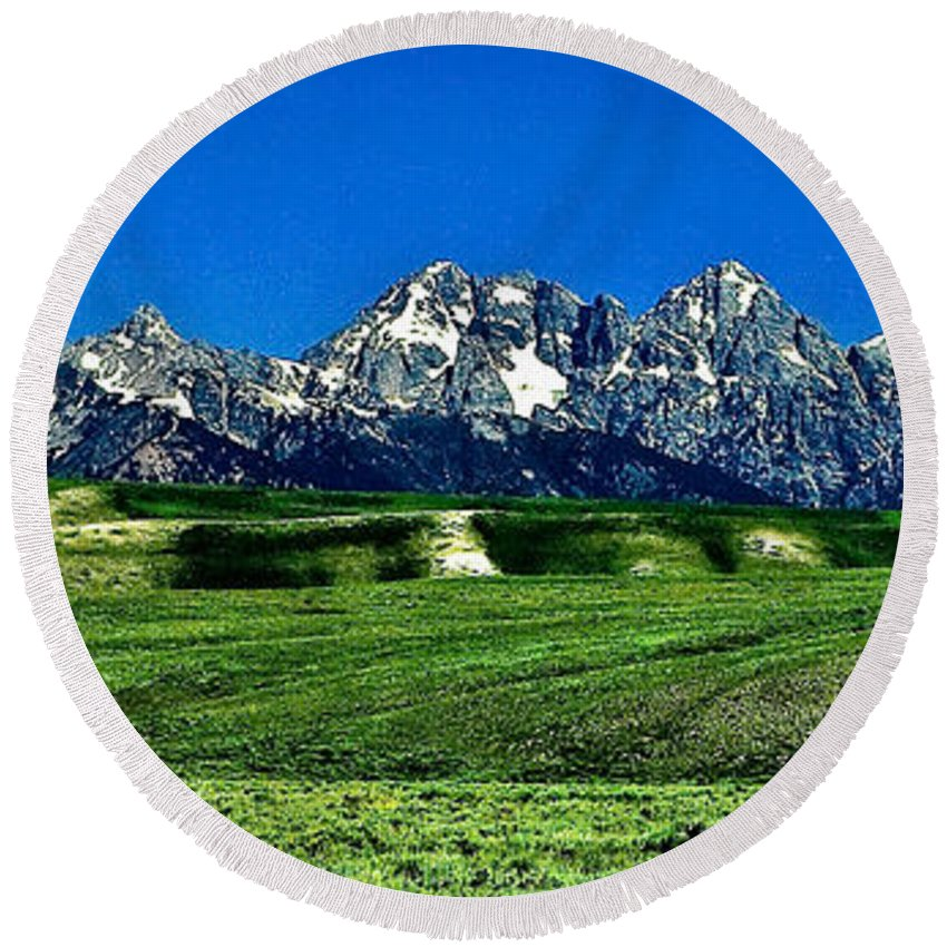 Nature Round Beach Towel featuring the photograph Grand Tetons by John K Sampson