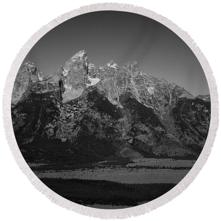 Mountains Round Beach Towel featuring the photograph Grand Tetons by Mark Schiffner