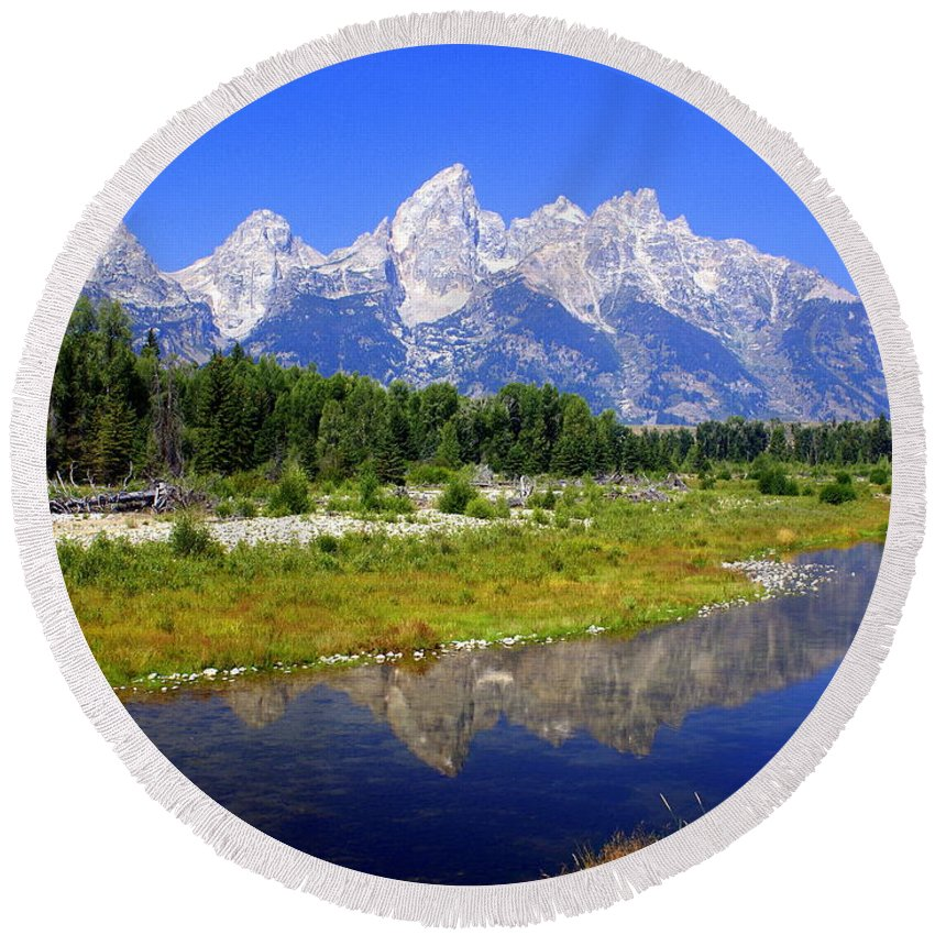 Grand Teton National Park Round Beach Towel featuring the photograph Grand Tetons by Marty Koch