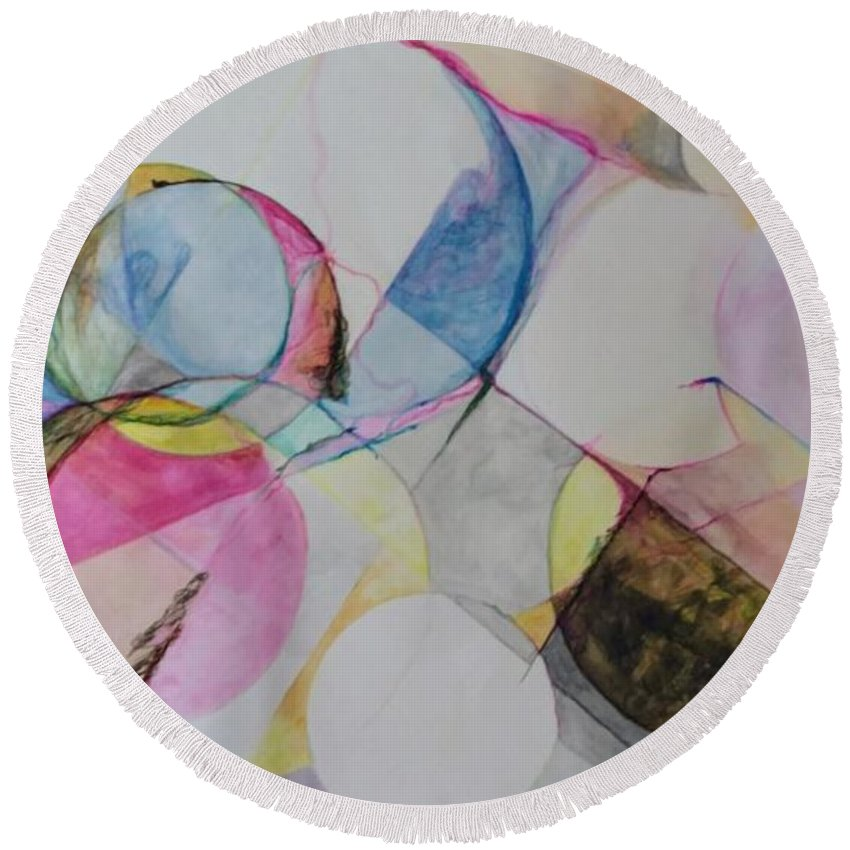 Abstract Patterns Round Beach Towel featuring the painting Grande' Circles by Cara Vines