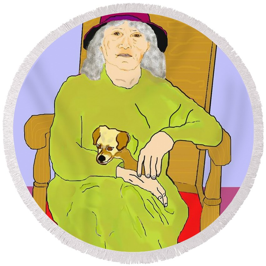 Grandmother Round Beach Towel featuring the painting Grandma And Puppy by Pharris Art