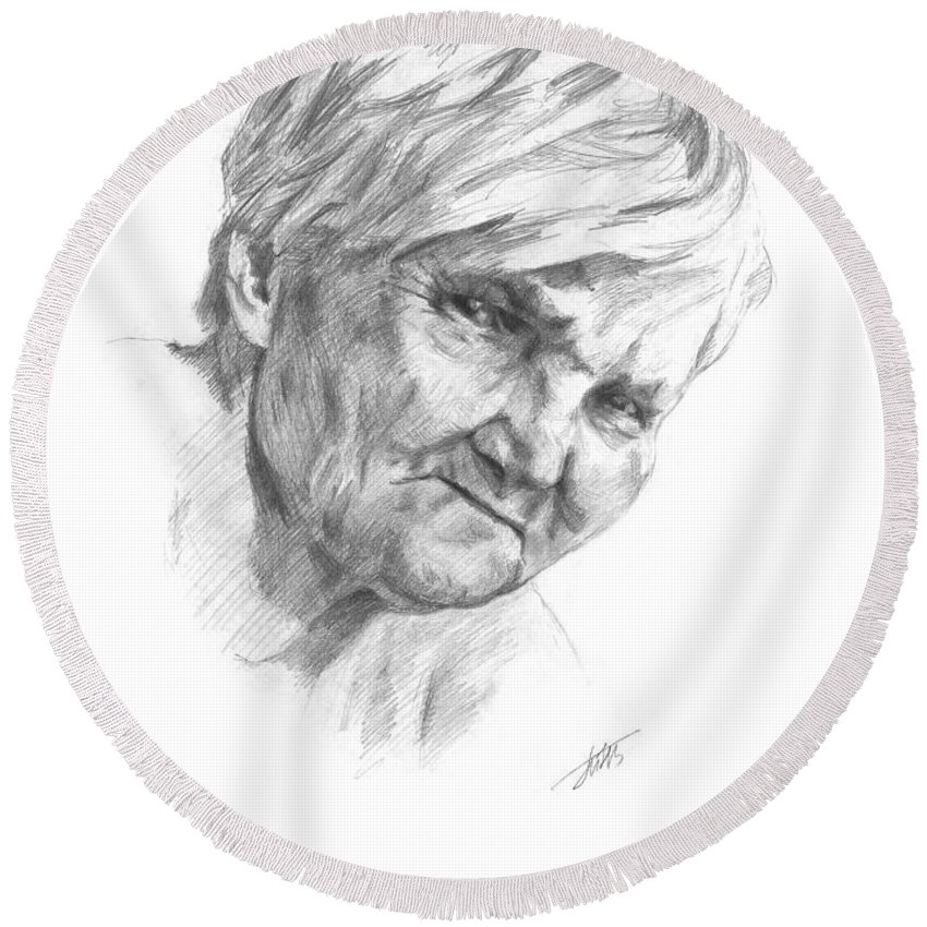Grandmother Grandma Granny Gran Grannie Nan Grandmamma Gammer Grandmother Old Woman Lady Relations Relationship Drawing Draft Figure Design Picture Illustration Tracery Recollections Memory Round Beach Towel featuring the drawing Grandma by Masha Batkova