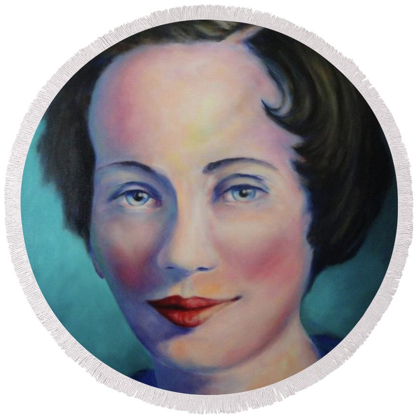 Painting Round Beach Towel featuring the painting Grandmother by Shannon Grissom