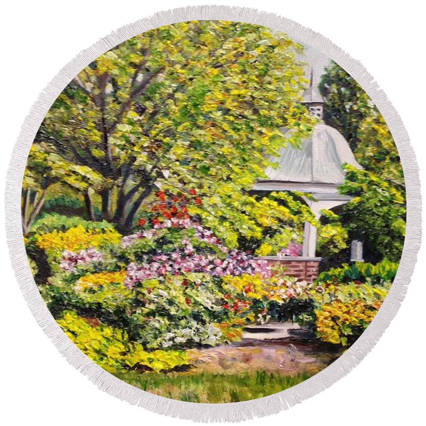 Garden Round Beach Towel featuring the painting Grandmother's Garden by Richard Nowak
