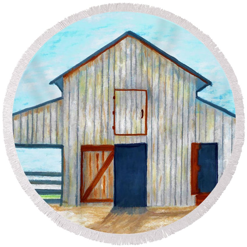 Illustration Round Beach Towel featuring the drawing Grandpa's Barn by D Hackett