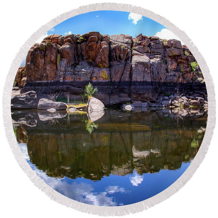 Landscape Round Beach Towel featuring the photograph Granite Dells Reflection by Amy Sorvillo