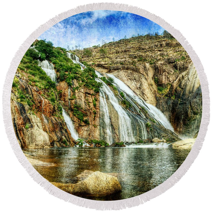 Waterfall Round Beach Towel featuring the photograph Granite Mountain Waterfall - Vintage Version by Weston Westmoreland
