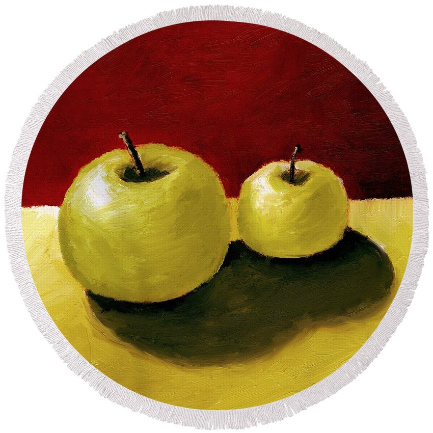 Apple Round Beach Towel featuring the painting Granny Smith Apples by Michelle Calkins