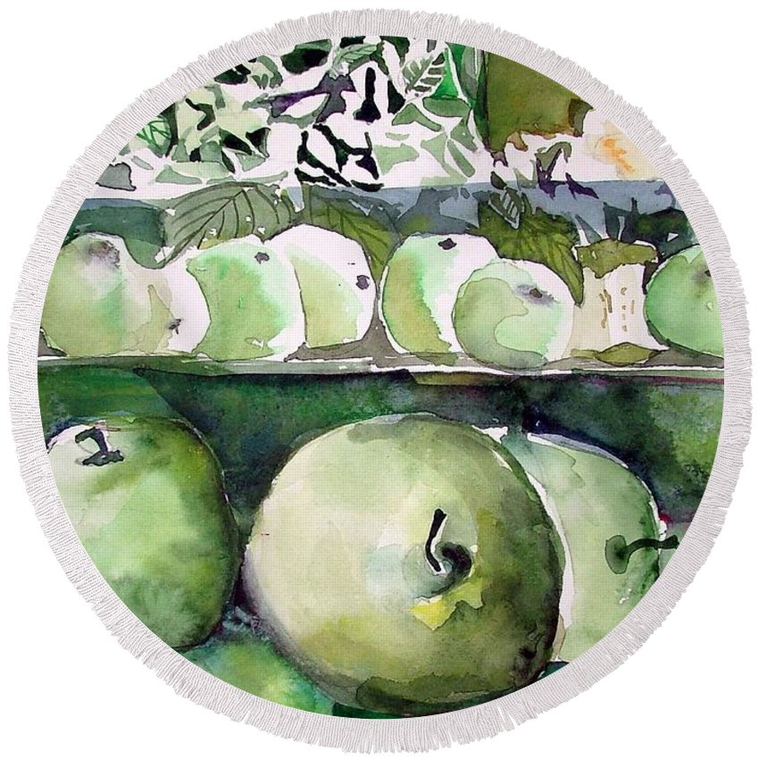 Apple Round Beach Towel featuring the painting Granny Smith Apples by Mindy Newman