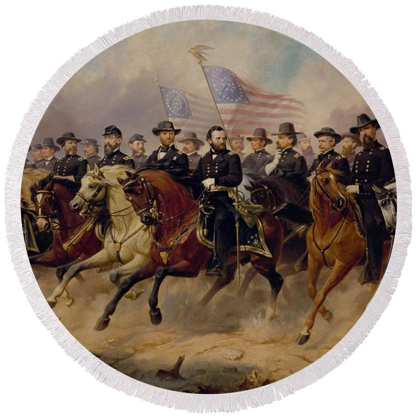 Grant Round Beach Towel featuring the painting Grant And His Generals by War Is Hell Store