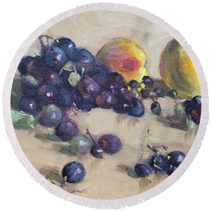 Grape Round Beach Towel featuring the painting Grape And Peach by Ylli Haruni